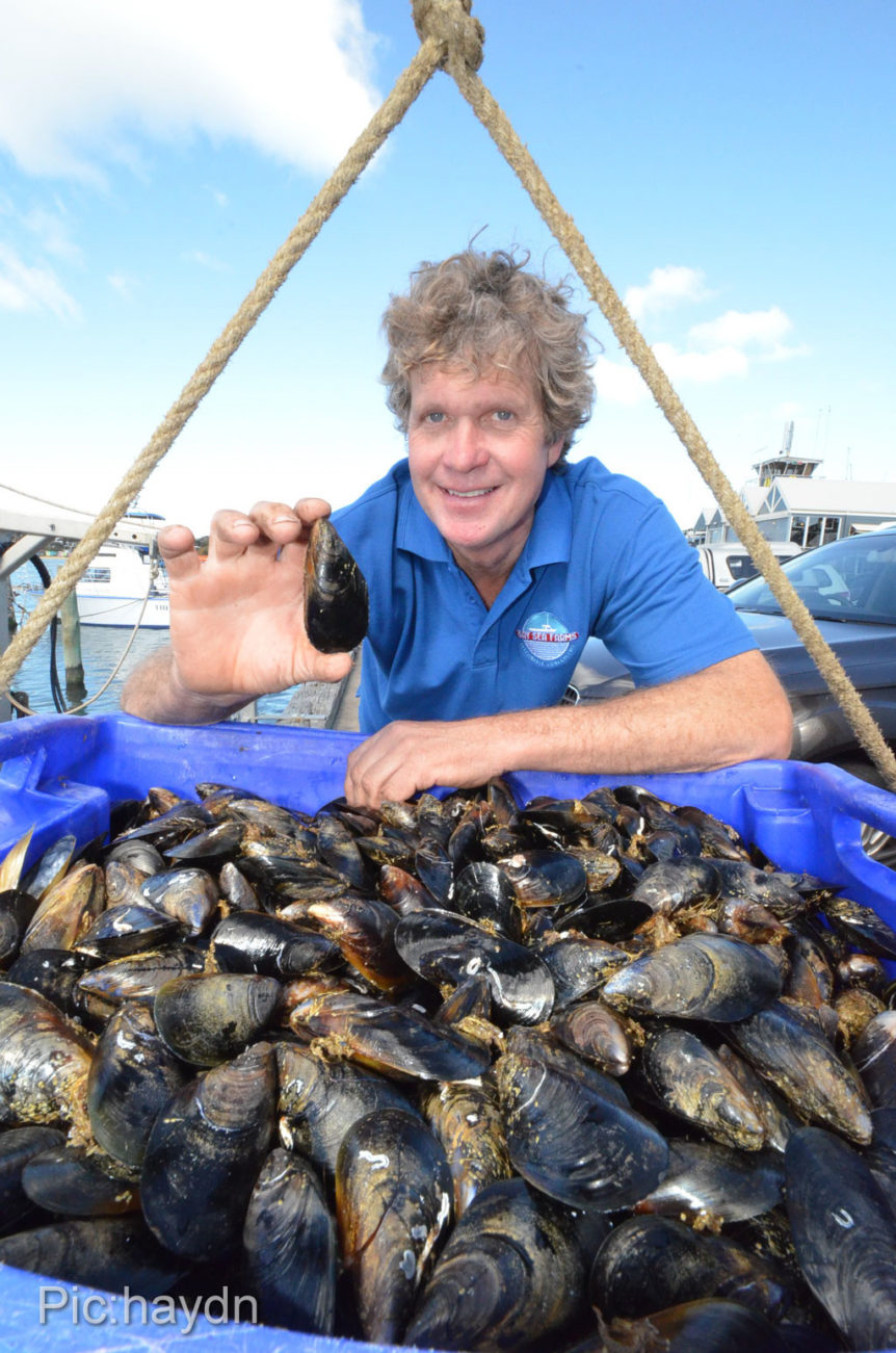 Peter Lillie with mussels